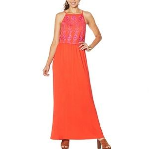 Colleen Lopez Front Embroidered Maxi Dress, 1X